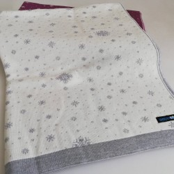 Мериносово одеало Lambinoo в бяло и сиво - двулицево