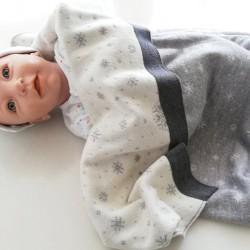 Мериносово одеало Lambinoo двулицево - в сиво и бяло
