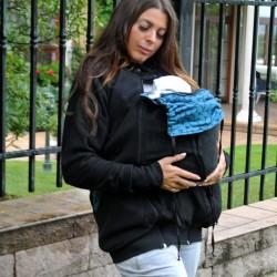 ПОД НАЕМ Поларен суитшърт за бебеносене 3 в 1 - черно Petals