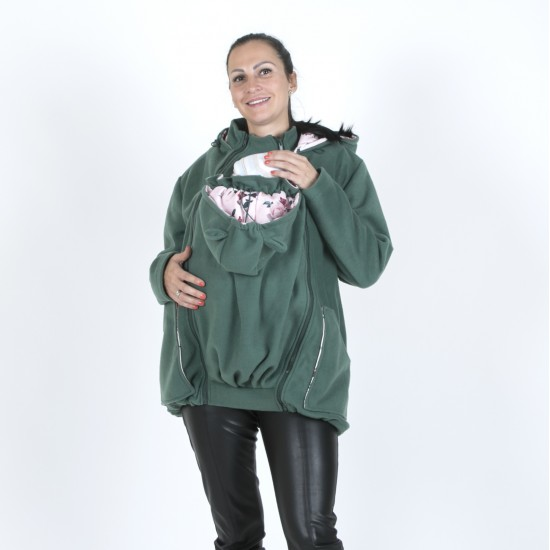 Яке полар 3 в 1 за бременни и бебеносене - маслено зелено, размер S