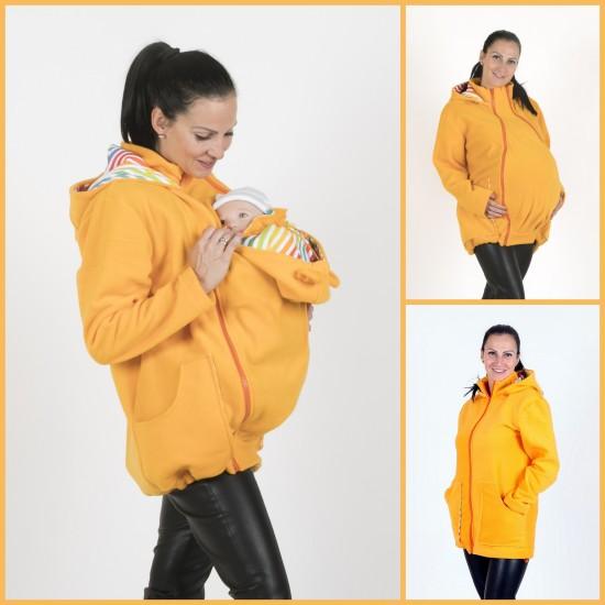 Яке полар 3 в 1 за бременни и бебеносене - жълто, размер XL